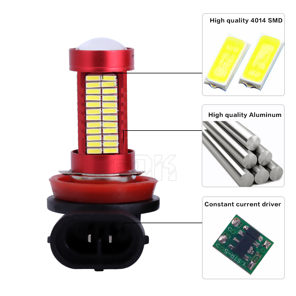 2db fehér LED H11 H8 LED 106smd 4014 HB3 9005 9006 HB4 LED - Autó világítás - Fénykép 4