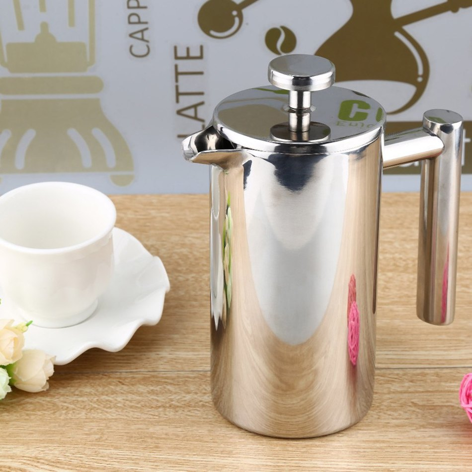 350ML 800ML 1000ML Stainless Steel French Cafetiere Permanent Coffee Filter Baskets Espresso Maker with Double Wall