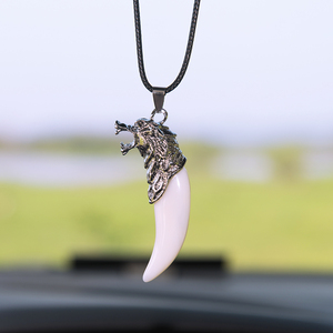 Image 5 - Car Pendant Simulation Wolf tooth Cars Rearview Mirror Decoration Auto Hanging Ornament Interior Accessories Gifts Car styling