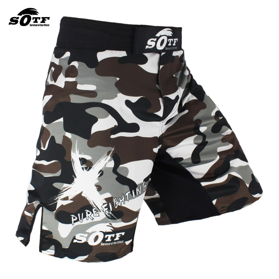 SOTF Preto Camuflagem da Luta luvas de Boxe Respirável Calções Tiger Muay Thai roupas sanda mma calções de boxe tailandês shorts