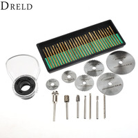 44Pcs Rotary Tool Attachment Dremel Accessories Set Diamond Burr Bit Drill Routing Bit Protective Cover Saw
