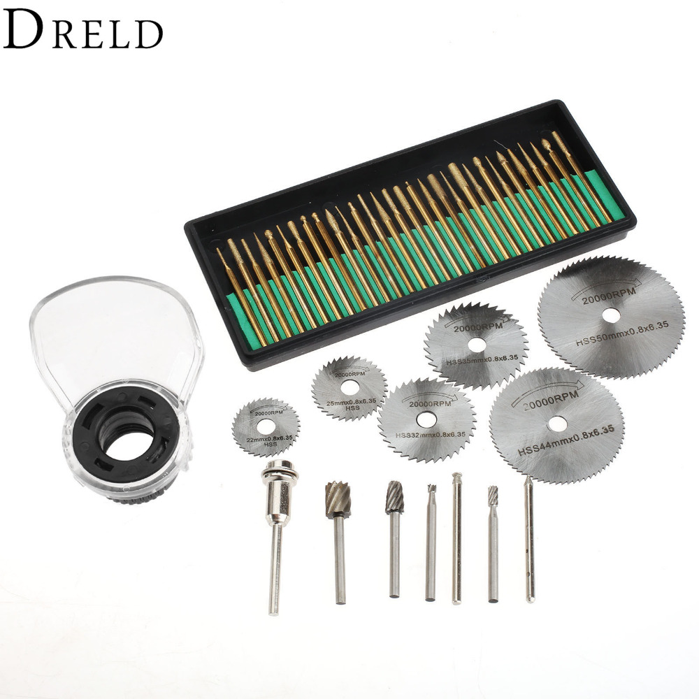 44Pcs Rotary Tool Attachment Dremel Accessories Set Diamond Burr Bit Drill+Routing Bit+Protective Cover+Saw Blade+3.17mm Mandrel 2017 newest tevo tarantula prusa i3 3d printer diy kit