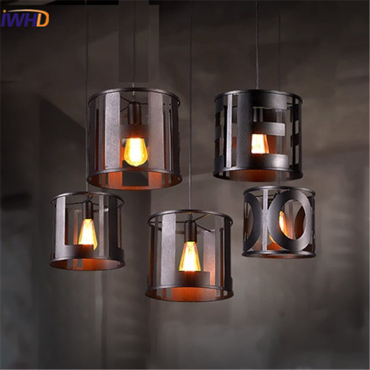 IWHD Creative Vintage Hanging Lamp Loft Style Industrial  Iron Pendant Lights Black Retro Lamparas Lighting Fixtures Iluminacion iwhd iron loft style vintage pendant lights retro industrial lamp black cage hanging lamp kitchen wicker luminaire suspendu