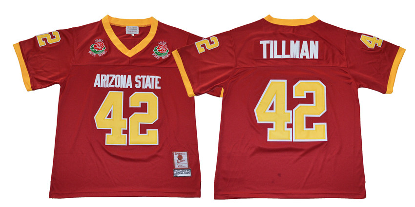 Штата Аризона Защита от солнца Devils 42 Пэт Тиллман поза bowl Игры Колледж Футбол Джерси Красный ...