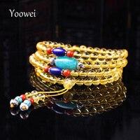 Yoowei 108 ريال العنبر سوار 6 ملليمتر حقيقية الخرز العنبر الخرز الصلاة البوذية المجوهرات المصنع 108 الأساور الوردية مالا pulsera