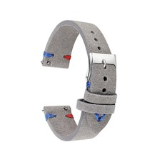 Handmade Leather Comfort Gray Suede Strap 18mm/20mm/22mm Stainless Steel Buckle High Quality Red Blue Line 2018 new