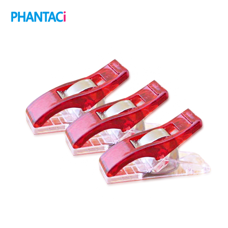 100 Pcs/lot Red PVC Plastic Clips For Patchwork Sewing DIY Crafts Quilt Quilting Clip Clover Wonder Clip 2.7*1CM
