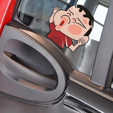 Funny Car Sticker and Decals Crayon Shin-chan Hitting on the Glass Sticker Kawaii Styling Car Accessories Decal Motorcycle(China)