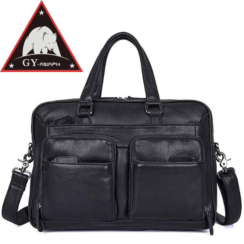 ANAPH Original Men's Full Grain Leather Briefcases Luxury Business Messenger Bags High Quality Totes 15 Inch Laptop Bag Black redfox сумка full size business messenger 1000 черный