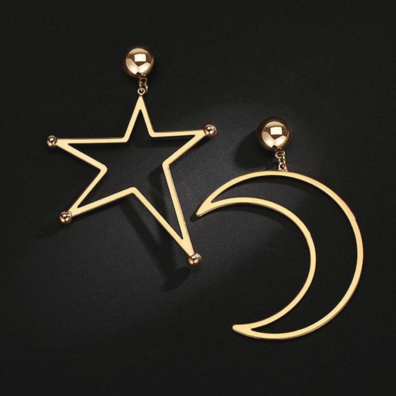 00556e85764c Cosstore exagerado gran hueco estrella en forma de luna de asimétrico  pendientes genial pendientes grandes chicas Bijoux calidad superior