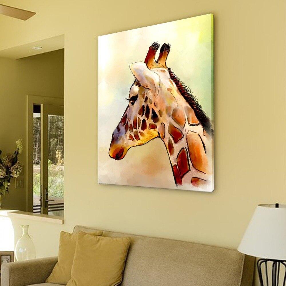 Iarts Modern Wall Art Print + Hand Painted Beautiful Giraffe ...