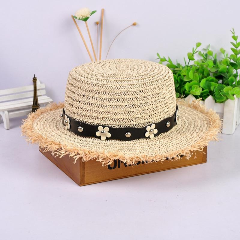 WEEKEND SHOP Straw hat Summer Spring Womens Trip caps Leisure Pearl Beach Sun Hats M Letter Breathable Flower Beige 5