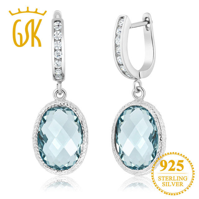 Gemstoneking 925 Sterling Silver Fine Earrings For Women Stunning Oval Checkerboard Simulated Aquamarine Drop