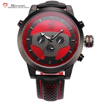 Shark 6 Hands Leather Strap Calendar Dual Time Zone Black Red 3D Dial Cycling Analog Quartz