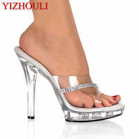 YIZHOULI 13cm high heels, thin and transparent crystal cold slippers, catwalk model size women's Dance Shoes