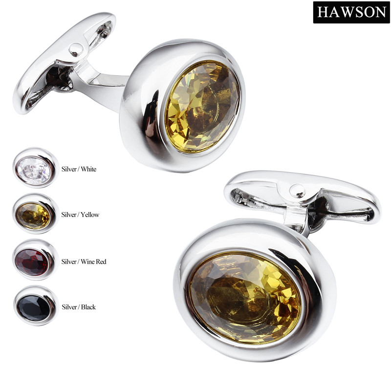 HAWSON 4 Colors Options Zircon Cuff links for Tuxedo Oval Cuff Button Mens Luxury Jewey