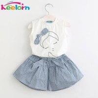 Keelorn 2017 Brand Summer Girls Clothing Sets Fashion Cotton Print Short Sleeve T Shirt And Shorts