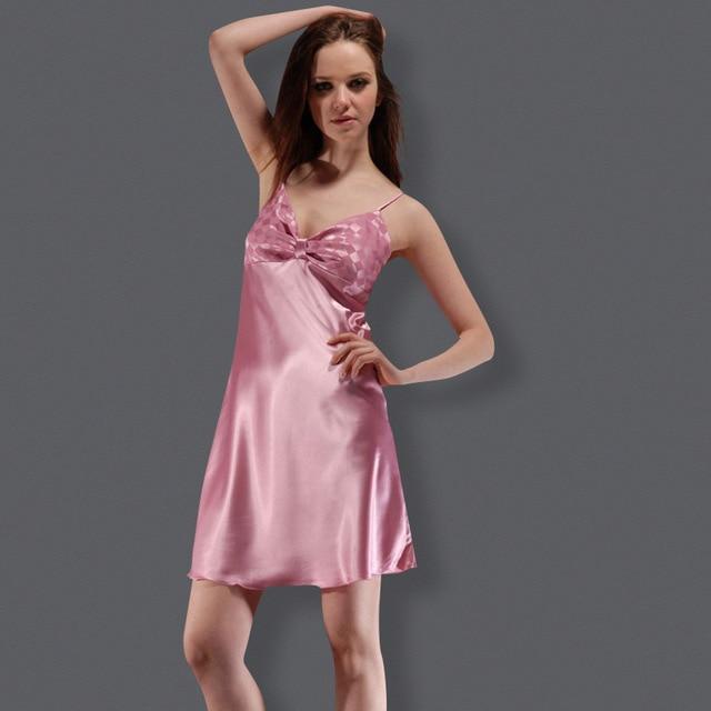 Sexy Nightwear Faux Silk Nightgowns Comfortable Thin Sleepwear Sleeping  Midi Dress Red Nightdress Summer Pijamas Night Dresses e8c9309cd