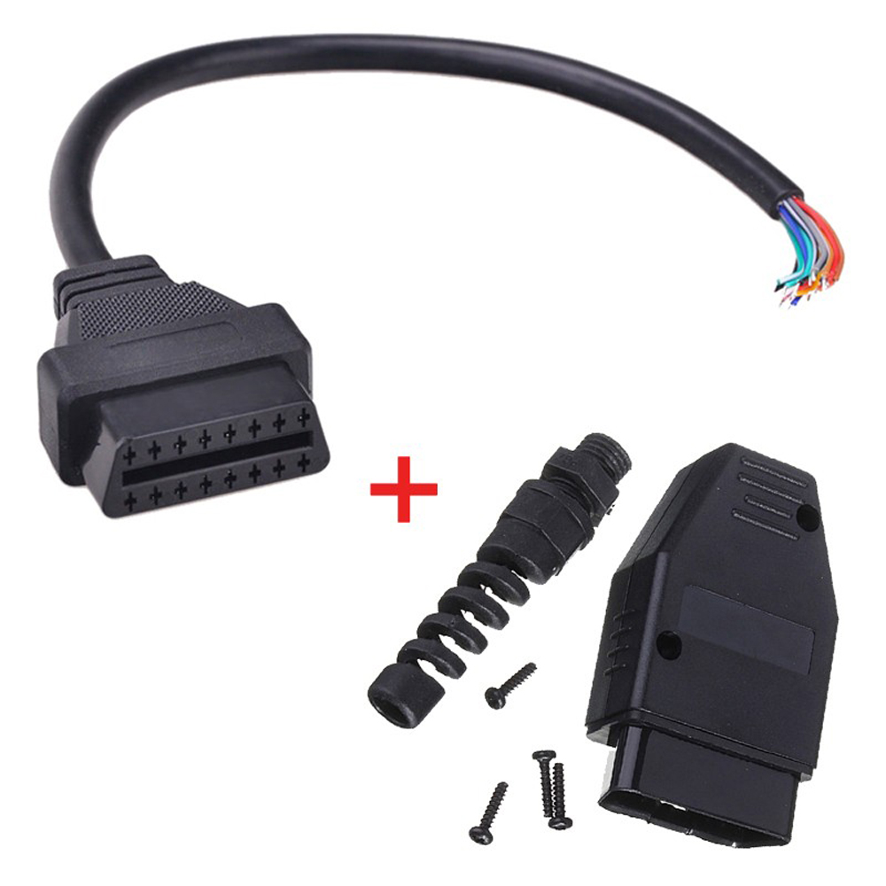 New Universal OBD2 (M+F) Male + 16 Pin Female Open Extension Connector Cable Assembly OBD 2 OBD II Diagnose Adaptor Free Ship