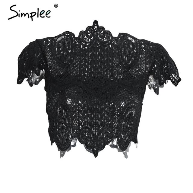 Simplee Apparel Summer style elegant black lace crochet crop top Girls short sleeve white blouse Women sexy hollow out tank tops