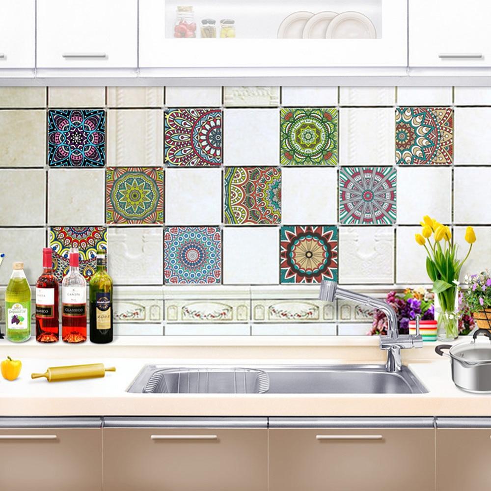 European Retro Style Washable 10pcs Tiles Stickers Self Adhesive Art ...