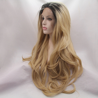 Fantasy Beauty Ombre Blonde Synthetic Lace Front Wigs For Black Women,2 Tone Color Black Roots Long Natural Wavy Heat Resistant