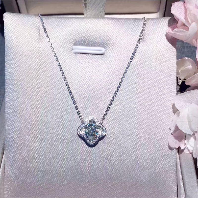ANI 18K White Gold (AU750) Pendant Necklace Certified 0.486 Carat I/VS Natural Diamond Clover Women Engagement Chain Necklace bk 4371 18k alloy crystal artificial fancy color diamond pendant necklace golden 45cm