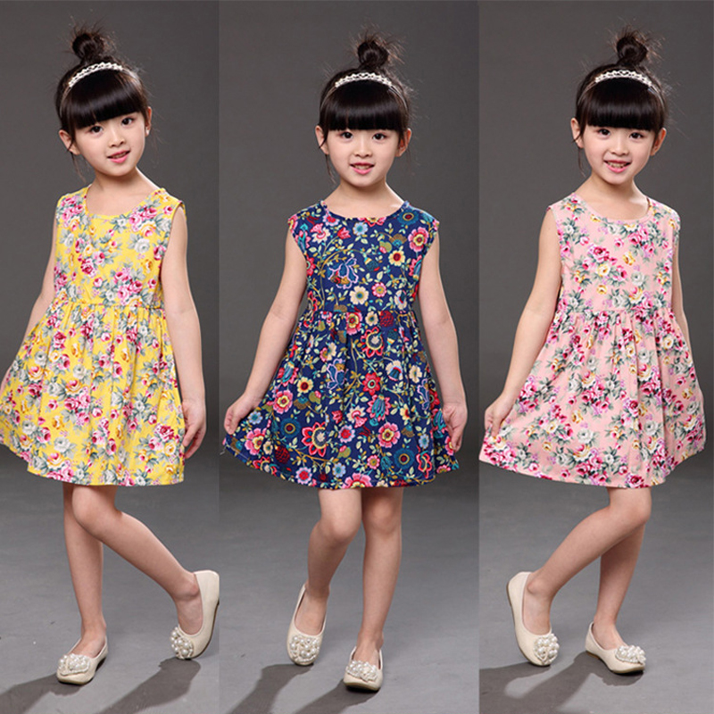 Fashion Summer Girls Dresses Lipstick Pattern White Navy Sleeveless Cotton Children Dress Sundress Kids Clothes 3-7 years girl