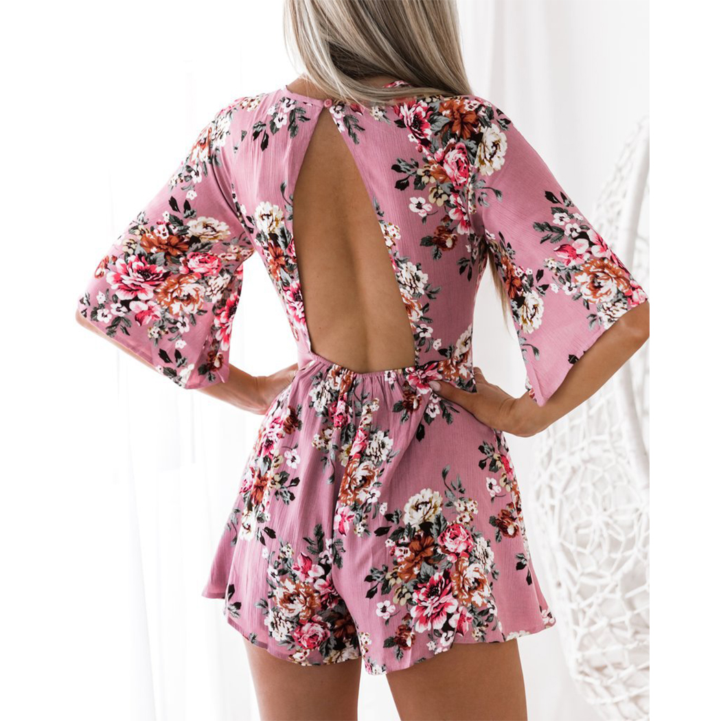 Summer Floral Printed Women Blackless   Jumpsuit   Flare Half Sleeve Boho Style Bodycon Loose Overalls For Women Beach Playsuit