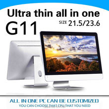All in one pc 23.6 INCHES G11 4g ram and 500g hdd Silver aluminum alloy or ABS shell with a fan desktop pc Mouse and keyboard