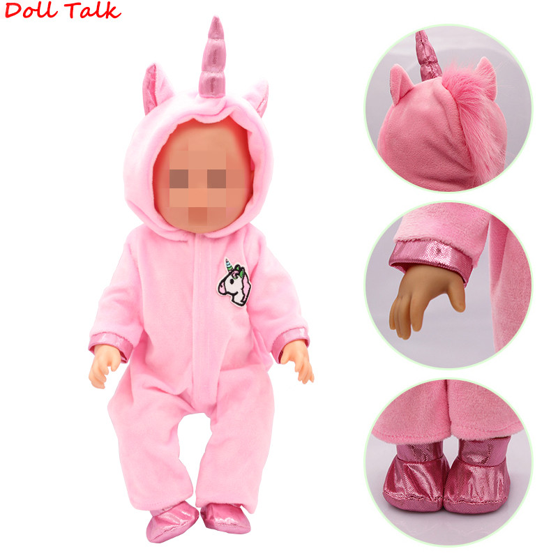 Unicorn Kitten Calf And Puppy Doll Clothes Suit For Kids Birthday Festival Gift Doll Clothes Born Baby Fit 18 Inch 43cm Doll