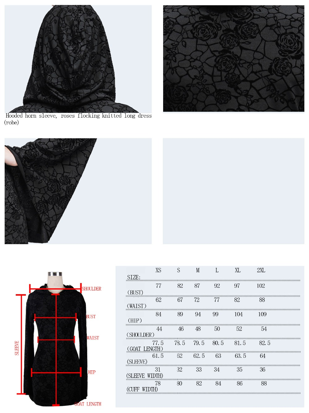 Steampunk Gothic Ukraine Black Dresses For Women Roses Print Flocking Knitted Dress With Hooded Long Sleeve Women Clothing 1