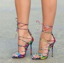 купить Mixed Colors  High Heel Sandals Fashion Serpentine Sexy Cross Straps Women Thin Heels Shoes Summer Free Shipping Party Shoes онлайн