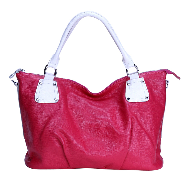 Genuine leather ! fashion preppy style cowhide color block decoration shoulder bag street casual cross-body women's handbag