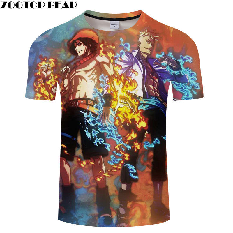 Fashion Style Men Shirts Short Casual Men's Shirt Luffy Anime One Piece Funny Boy Brand Breathable 3D Print t-shirt ZOOTOP BEAR