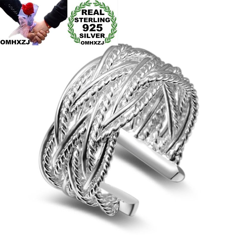 OMHXZJ Wholesale Personality Fashion OL Woman Girl Party Wedding Gift Silver Lines Weaving Open 925 Sterling Silver Ring RN250