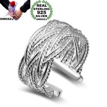 OMHXZJ Wholesale Personality Fashion OL Woman Girl Party Wedding Gift Silver Lines Weaving Open 925 Sterling Ring RN250