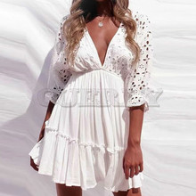 CUERLY Elegant V neck Embroidery Women Dress Ruffle Pleated Lace Up Summer Dresses Casual Sexy Hollow Out Vestido de Festa