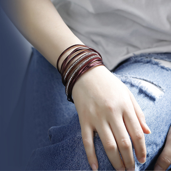 ALLYES Multilayer Leather Bracelets for Women Femme 6 Colors Magnet Clasp Crystal Bohemian Double Wrap Bracelet Jewelry 1