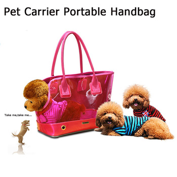Pet Dog Carrier Bags Portable Outdoor Travel Products Windproof Plastic Shoulder Handle Doggy Bag For Small Dog Cats Chihuahua