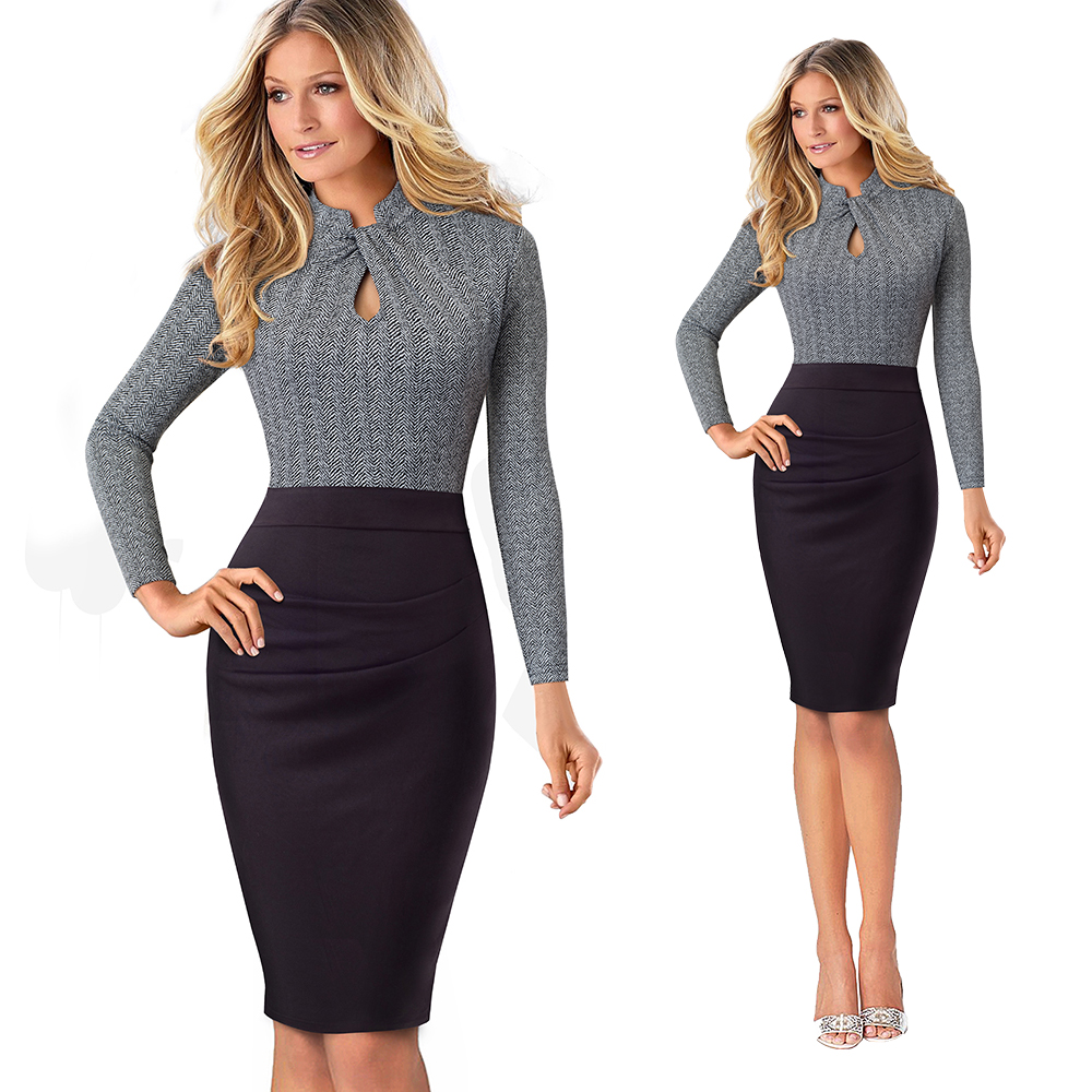 Elegant Work Office Business Drapped Contrasting Bodycon Slim Pencil Lady Dress Women Sexy Front Key Hole Summer Dress EB430 7