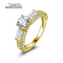 AINUOSHI 10k Solid Yellow Gold Wedding Ring Round Cut Design 1 ct Engagement Anelli Simulated Diamond Women Rings Fine Jewelry