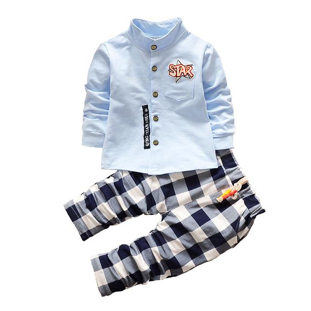 2017 Nuevos Niños de La Manera Ropa de Primavera de Los Bebés Que Arropan Shirt + Pantalones Niño Niños Ropa de Bebé Ropa de Marca