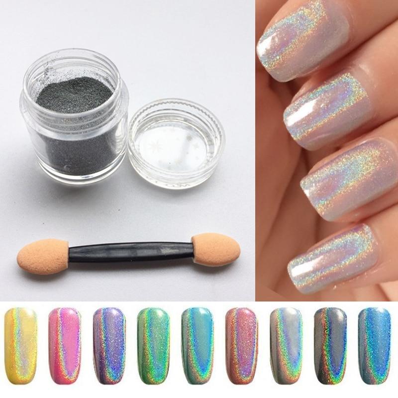 5g/Bottle Laser Silver Holographic Nail Powder Glitter Nail Art Rainbow Chrome Pigments DIY Manicure Charms Nail Art Decorations серьги art silver art silver ar004dwzmh30