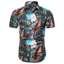 Floral Hawaiian style Social Shirt Mens clothing Slim fit Flowers Men dress Shirts Blouse Short sleeve Summer