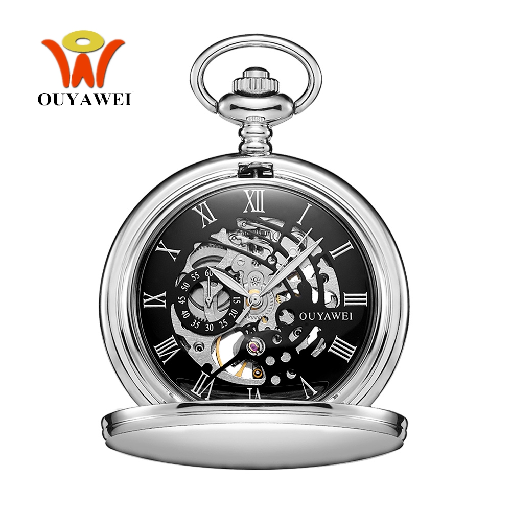 NEW Hot Brand OUYAWEI Brand Mechanical Hand Wind Pocket Watch Silver Black Stainless Steel Case Water Resistant Hombre Watch Men