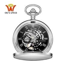 Nova marca quente ouyļmarca mecânica mão vento bolso relógio de prata preto caixa aço inoxidável resistente à água hombre relógio masculino