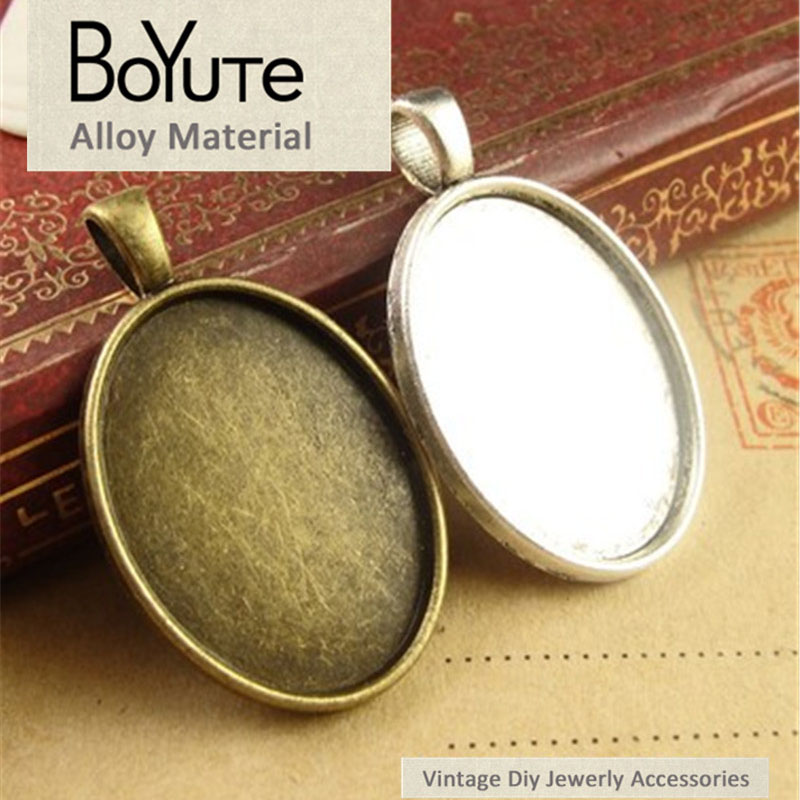 BoYuTe (40 Pieces/Lot) 25*18MM Cabochon Base Vintage Jewelry Accessories Parts Antique Bronze Silver Black Bezel Tray Pendants