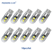 MODERN CAR 10pcs T10 LED Turn Side Parking Lamp W5W Car Reading Light White 194 168 Wedge 3smd 3030 License Plate Reverse Bulbs aslent 4pcs t10 w5w 194 led 3030smd car light bulbs auto lamp car door light turn reading lights ice blue white red yellow 12v