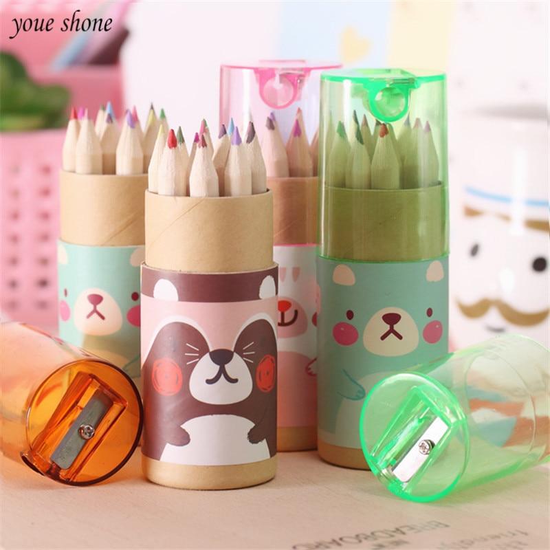 12Pcs/box 12color pencils creative stationery cute mini bear pencils for school girl boy